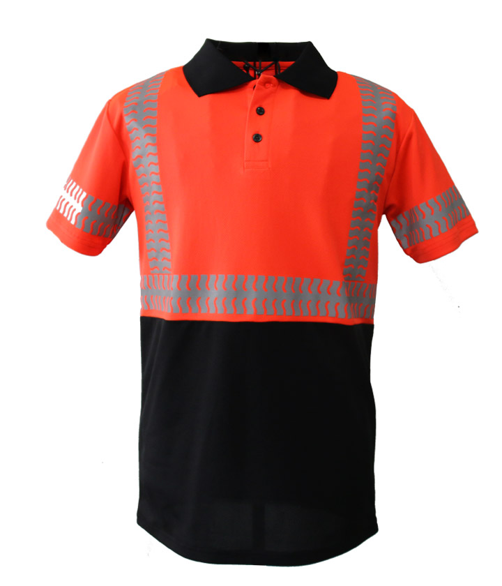 Hi Vis red/black Two Tone polo shirt